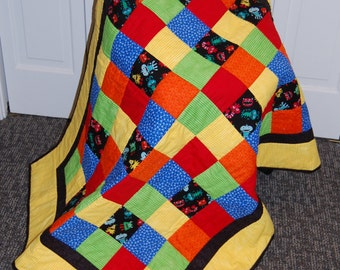 FREE SHIPPING, Monster Baby Quilt, Primary Color Quilt, Baby Boy, Hand Quilted