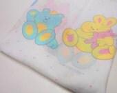 Nursery Print Fabric Remnant, 1 yd Pastel Print Material, Nursery Decor Fabric, Bunnies, Teddy Bears & Puppies