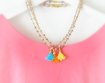 Tassel Strand Necklace - Pink Beaded Necklace - Colorful Tassels - Bridal Necklace - Choose your color