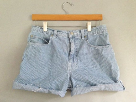 Vintage 80's High Waisted Denim Jean Shorts Cutoffs Train Conductor Grunge frayed Indie festival boho distressed Free People 90's Pin Strip