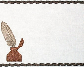 Ink & Feathered quill embroidered quilt label to customize with your personal message