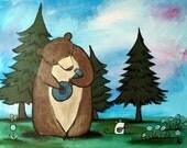 Woodland Nursery Wall Art for Kids Childrens Room Decor Musical Banjo Bear Cute Animal Artwork