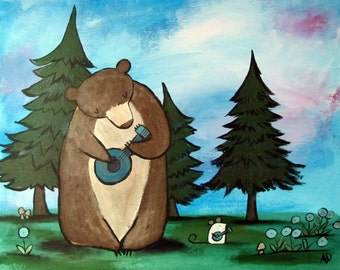 Woodland Nursery Wall Art for Kids Childrens Room Decor Musical Banjo Bear Cute Animal Artwork