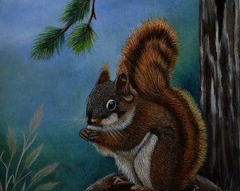 Framed Wildlife Painting:  In the Forest - squirrel painting, pine trees, grass, forest, wildlife art, original painting