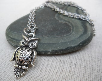 Silver Owl Necklace - Silver Owl Pendant - Silver Owl Jewelry
