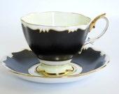Vintage Royal Albert Tea Cup and Saucer in Black and Cream  /  Matte Black Art Deco Style Teacup Set  /  Elegant Teacup and Saucer