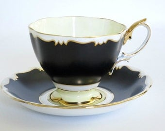 Vintage Royal Albert Tea Cup and Saucer in Black and Cream  /  Matte Black Art Deco Style Teacup Set  /  Elegant Teacup and Saucer