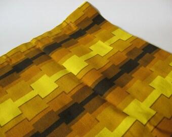 Exemplary set of 2 mod vintage cotton bark cloth curtain panels atomic mid century mod gold yellow brown