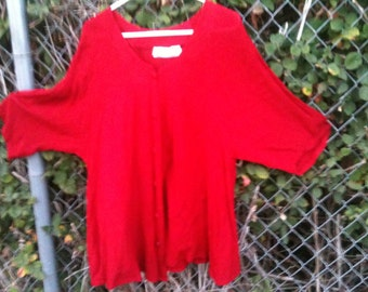 Blouse flared tunic elbow length sleeves plus size red by Sondra Daniels for danieli button front