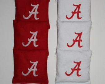 ALABAMA CRIMSON TIDE New Logo Embroidered Cornhole Corn Hole Baggo Bean Bags