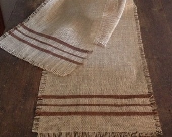 Brown Striped Burlap Table Runner 12-14 x 60, 72 or 84 Grain Sack Table Decor by sweetjanesplan