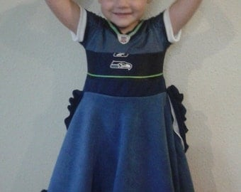 Custom made to order Toddler Seattle Seahawks jersey dress