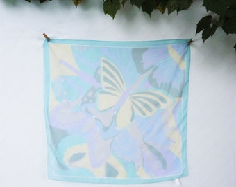 Large Butterfly Scarf, Vintage Square Sheer Scarf, Pastel Blue Yellow Purple Scarf