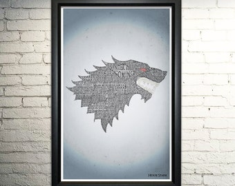 Game of Thrones Stark word art print - 11x17""