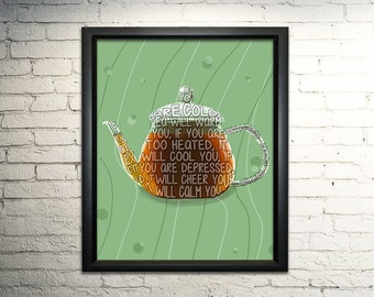 For the love of Tea Word Art Typography Print