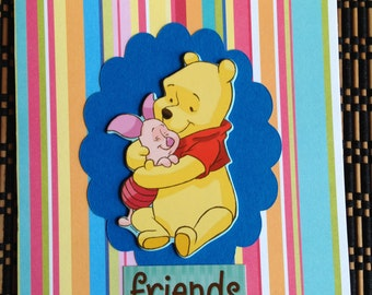 """Handmade Card """"Friends Forever"""" All Occasions Cards,Winnie the Pooh."""
