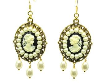 Beaded Cameo, White Pearls Dangling Earrings, ER-0132