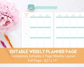 Editable Planner Pages | Printable Weekly Planner | Editable Weekly Planner