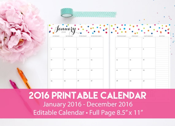 2016 Printable Calendar - 2016 Editable Calendar Two Page Layout by ...