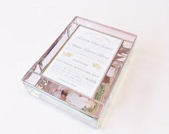 Stained Glass Keepsake Gift Box 7x9x2 Wedding Invitation Save the Date Bride Groom Photograph 50th Anniversary Bat Mitzvah Custom Made