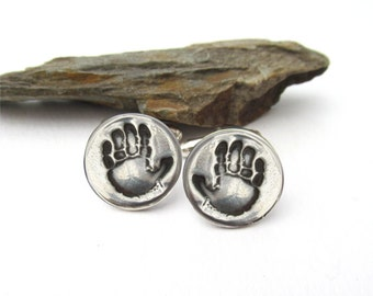 Handprint Cufflinks, Footprint Cufflinks, Personalized Silver Cufflinks, Footprint Jewelry