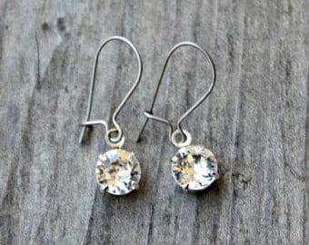 Titanium Dangle Earrings, Clear Round Swarovski Crystals on Titanium Kidney Wires, Hypoallergenic