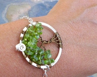 Tree of Life Bracelet in Sterling Silver Chain,Peridot Tree of Life Bracelet- Peridot Bracelet, August Birthstone Tree of Life Bracelet