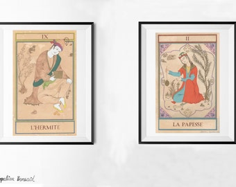 Any two 29,7 x 42 cm prints/Custom Laureen Topalian painting print set/persian painting/watercolor print/set of 2 prints/home decor