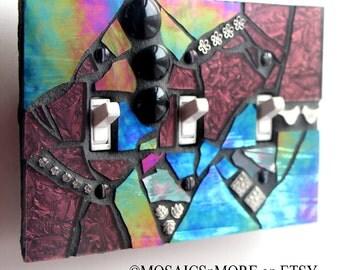 Purple Iridescent - HANDMADE - Triple Mosaic Light Switch Cover Wall Plate
