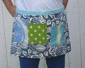 Half apron light blue and green, polka dotted pockets, heavy canvas, women or men.