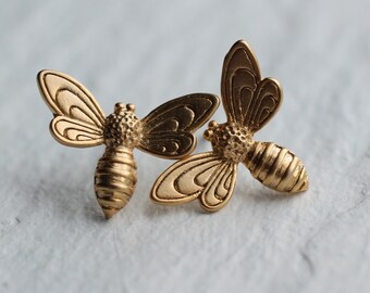 Bee Stud Earrings ... Gold Plated Brass Insect Posts