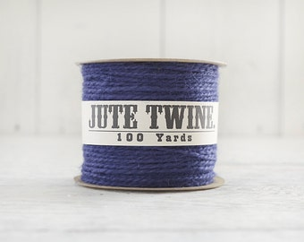 Jute Twine - 100 Yard Spool of Twine, 2-Ply Rustic Craft String, Royal Blue