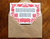 Pack of three (3) Letterpress Thank You Cards
