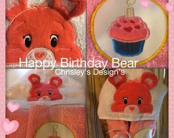 Happy birthday bear hoodie towel