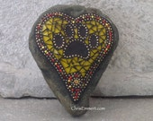Yellow Heart w Black Paw Print - Garden Stone