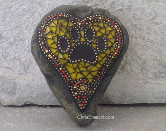 Yellow Heart w Black Paw Print - Garden Stone