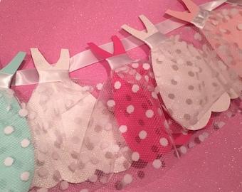 Polka dot wedding dress bridal shower garland pink white green