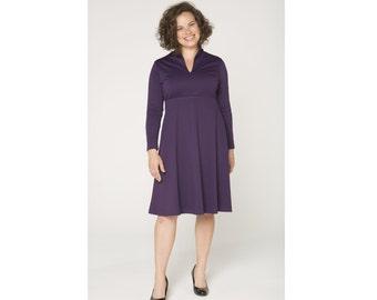 Empire Waist Dress Standup Collar Ponte 4 Lengths Misses & Plus Sizes 2-28