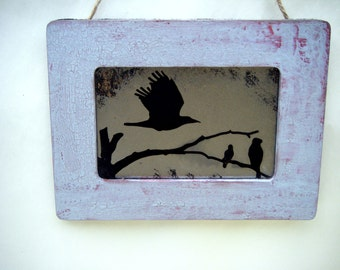 Raven Flying with Branch Antiqued Mirror Rustic Burgundy Lavender Black Bird Poe Crow Fall Art Home Decor Country Cottage Primitive Folk Art