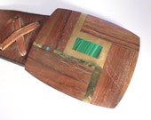 Beautiful Handmade 1970's Brass, Wood, Malachite and Turquoise Inlay Belt Buckle with The Original Leather Hand Made Belt