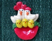 Chicken Family Christmas ornament handmade bread dough
