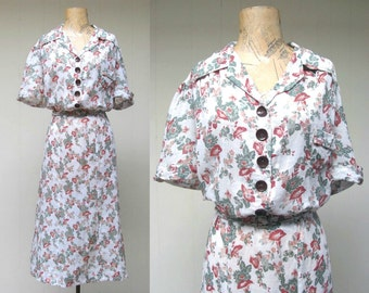 Vintage 1940s Dress / Driving Miss Daisy 40s White Cotton Floral Day Dress / Large
