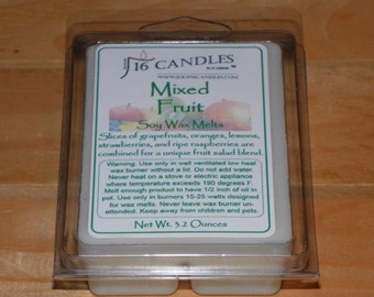Mixed Fruit Soy Wax Melts ~ 6 Cavity Clamshell ~ Fruity Scent ~ Fragrant Wax Melts ~ 2.75 Ounces