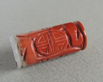 Carved Jasper Pendant, Red Jasper Focal Bead, Red Jasper Bead