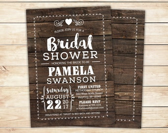 Rustic Bridal Shower Invitation, Wood Printable Invitation, Barn themed Invitation with RSVP, any color, free customizations
