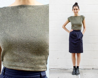 80s - 90s Gold Metallic Striped Cropped Top SIZE XS