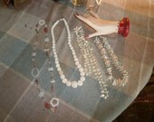 Vintage Necklaces Mix Lot Shell, Motherpearls, and carved Rose Beads