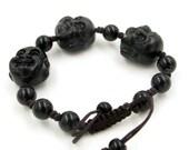 Good Luck Black Stone Tibet Buddhist Laughing Buddha Head Beads Adjustable Bracelet Wrist  T0407