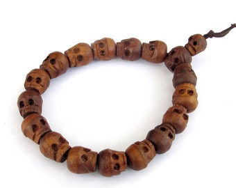 Tibetan Jewelry Handmade 12mm Jujube Wood Skull Beads Stretchy Bracelet  T0015