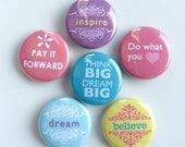 """Inspirational / Motivational Magnets --- 1"""" Refrigerator Fridge Magnet Set (6 Magnets)"""